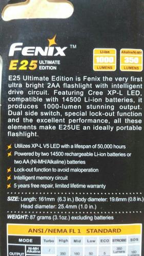 lanterna fenix e25 ultimate edition 1000 lumens strobo, sos