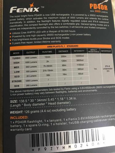 lanterna fênix pd40r 300lumens