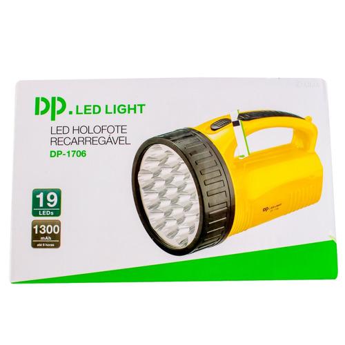 lanterna holofote dp1706 super 19 leds bivolt recarregavel