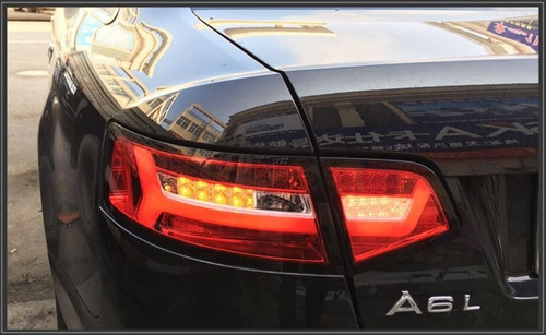 lanterna led audi a6 2009 2010 2011 sequencial cristal red