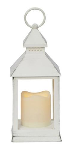 lanterna led decorativa branca envelhecida 24x10x10cm