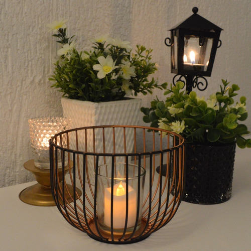 lanterna luminária gaiola metal preto para vela rechaud