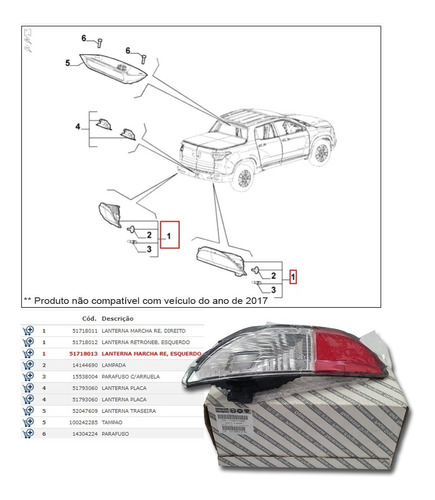 lanterna luz ré parachoque motorista original fiat toro 2020