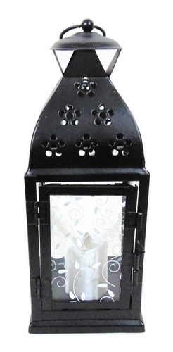 lanterna marroquina porta vela vidro folha e vela led sj