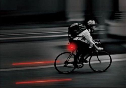lanterna para bicicleta 5 leds luz de laser p/ ciclovia