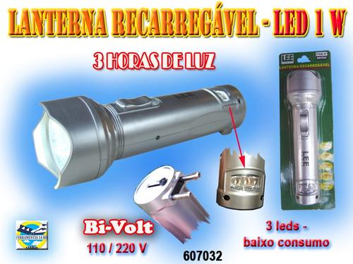lanterna recarregável  led 1watts bi-volt 3leds frete grátis