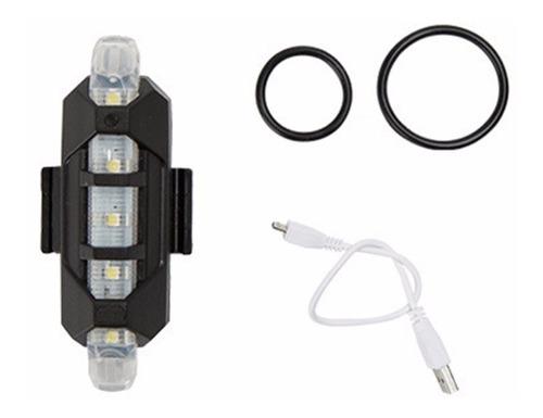 lanterna sinalizador bicicleta 5 leds recarregável par