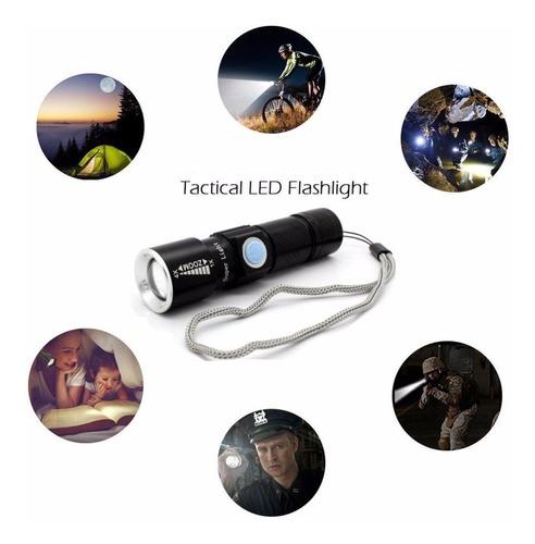 lanterna tática led recarregável via usb 5.v 58000w preto