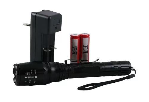 lanterna tática led t6 police potente 2 bateria recarregável