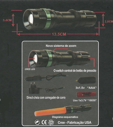 lanterna tática ledcree q5 police profissional jyx 350.000 l