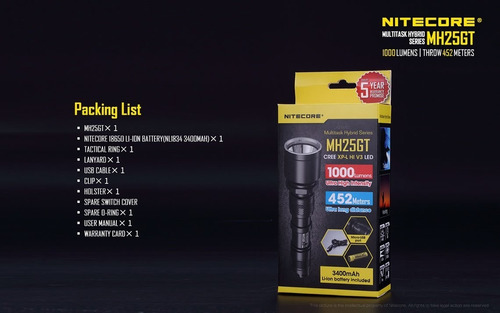 lanterna tática nitecore mh25gt 1000lu original