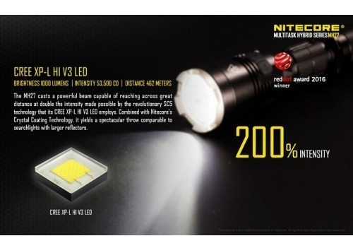 lanterna tática nitecore mh27 recarregável 1000 lúmens