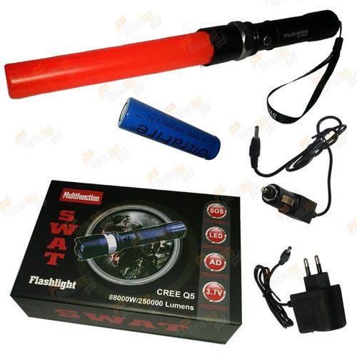 lanterna tática swat recarregável led 88000w com sinalizador