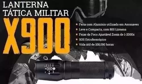 lanterna tática x900 zoom de 1-2000x recarregável pesca