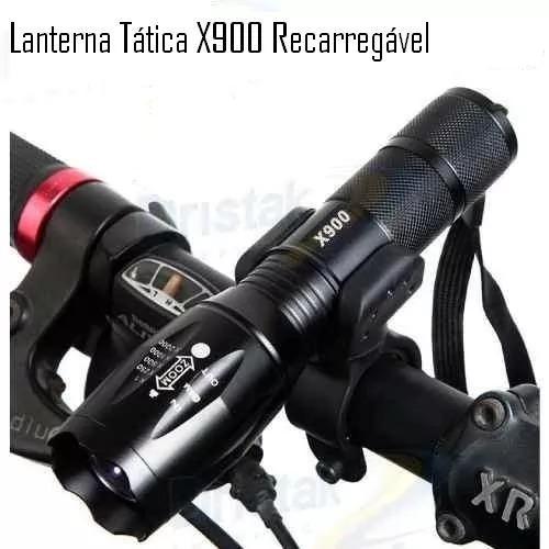 lanterna x900 led recarregável potente acessório acampamento