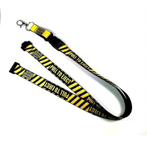 lanyard pull to eject & porta id piel remove before flight®