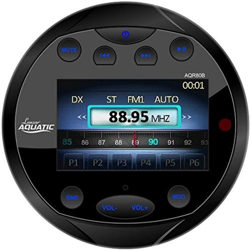Lanzar AQR80B Round Aquatic Waterproof Marine Stereo in Dash Bluetooth Receiver