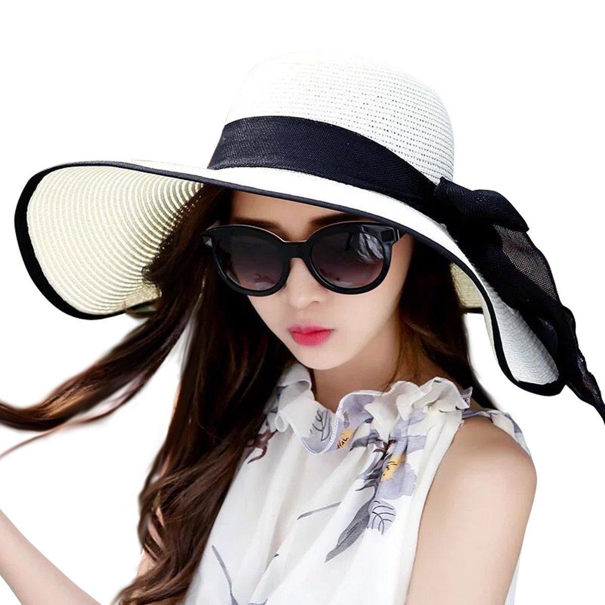 a5811b67c37ea Lanzom Women s Big Bowknot Sombrero De Paja Plegable Roll - S  149 ...