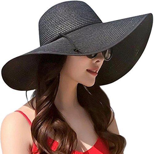 lanzom womens wide brim sombrero de paja floppy plegable rol