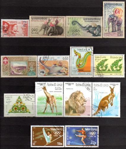 laos - 1959-88 - lote 14 selos diversos