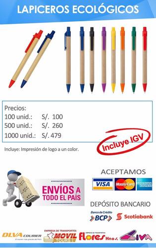 lapicero publicitario ecológico + logo 1 color por millar