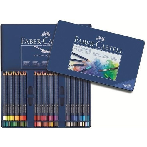 lapices art grip faber castell acuarelable lata x 60 colores