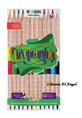 lapices bicolor x 12 = 24 colores mooving - inseparables