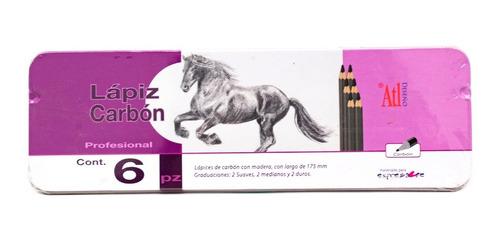 lápices carboncillo 6 piezas arte diseño madera nuevos rodin