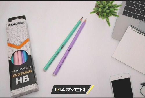 lapices color pastel de escritura hb x12 marven