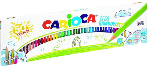 lapices de color carioca tita rainbow set x50 colores