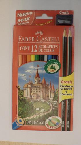 lapices de color pinturitas faber castell x 12 + 2 negros e+