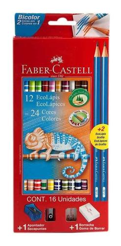 lapices de colores bicolor 12 unidades + 2 grafitos + goma