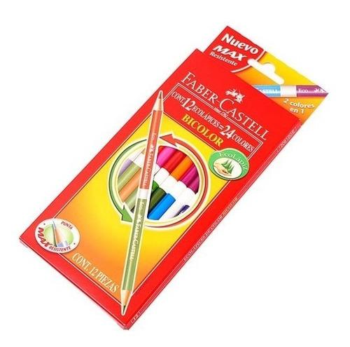 lápices de colores faber castell bicolor largos caja x12 =24