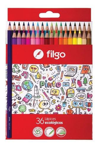 lápices de colores largos filgo x36
