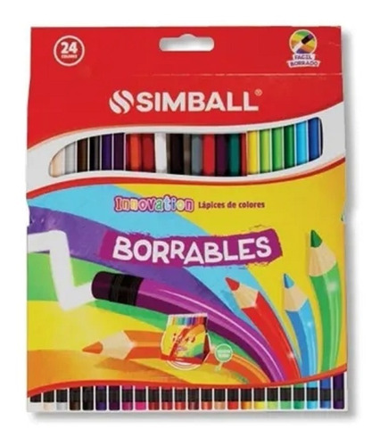 lapices de colores simball innovation borrables x 24 full