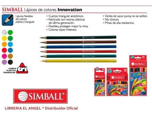 lápices de colores simball innovation largos x 12 pinturitas