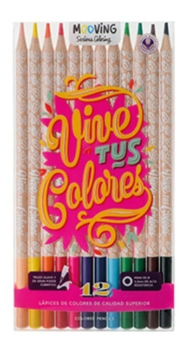 lápices de colores x12 unidades mooving vive tus colores