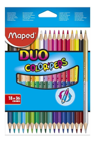 lapices de colores x18 duo colorpeps maped 829601 educando