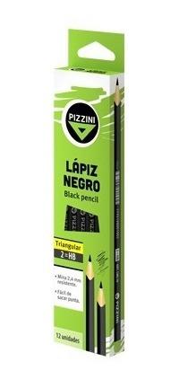 lápices de madera. negros. triangulares. hb 12 unid.
