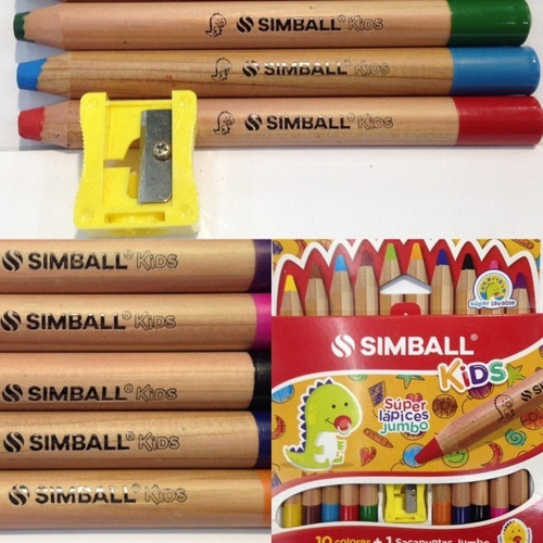 lapices simball kids súper jumbo x 10 colores + sacapuntas