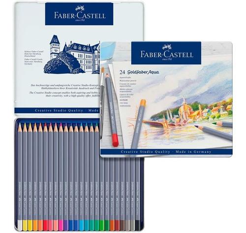 lápis aquarelado goldfaber aqua faber-castell lata 24 cores