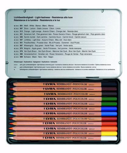 lápis cor lyra rembrand polycolor cj 12 + bloco a4 canson