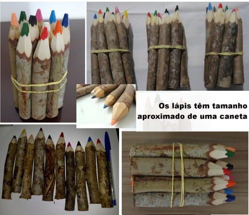 lápis cor tronco artesanal 40 kits lembrança de aniversário