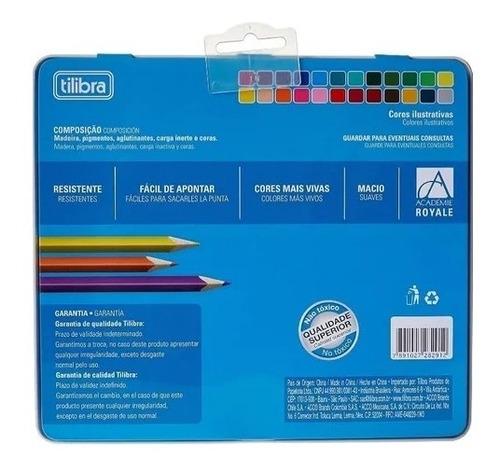 lápis de cor 24 cores triangular estojo lata académie