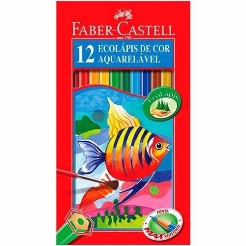 lápis de cor aquarelável com 12 cores fáber castel