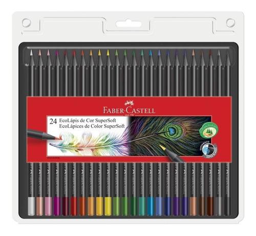 lápis de cor ecolápis supersoft 24 cores profissional pintar