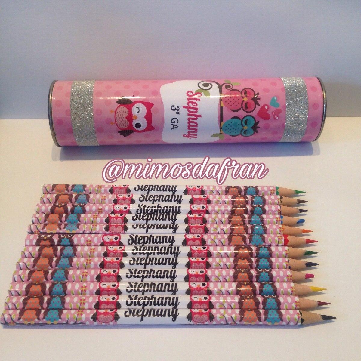 84998d9c0 lápis de cor personalizado (12 cores) + estojo. Carregando zoom.