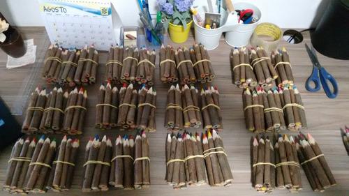 lápis de cor tronco de árvore artesanal 20 kits 200 unidades