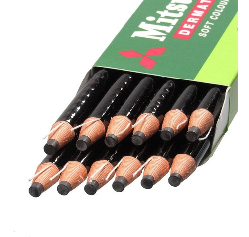 lápis dermatográfico mitsubishi 7600 preto 12 unidades