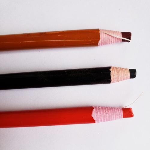 lápis dermatográfico preto vermelho marrom kit 12 unidades